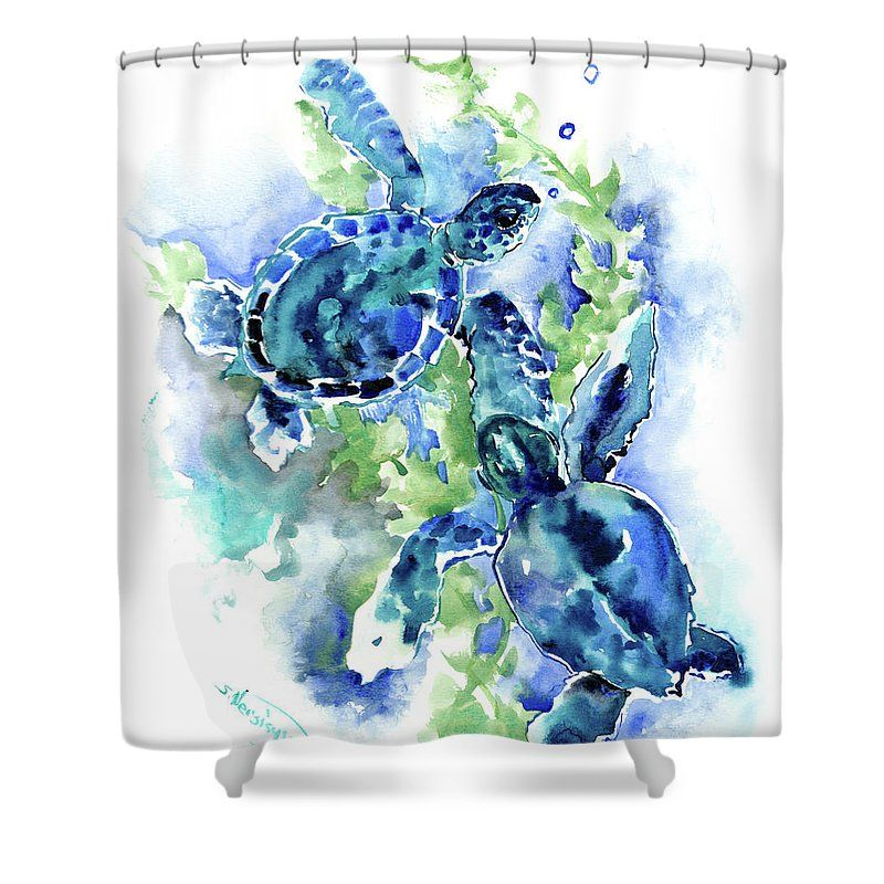 Sea Turtle Underwater Scene Blue Turquoise Illustration Beach Bath Shower Curtain For Sale By Suren Nersisyan Blue Beach Ocean Decor Shower Curtain Art