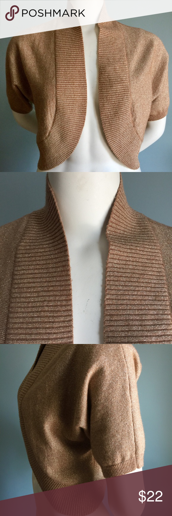 Banana Republic Bronze-gold Shrug | Metallic thread, Banana ...