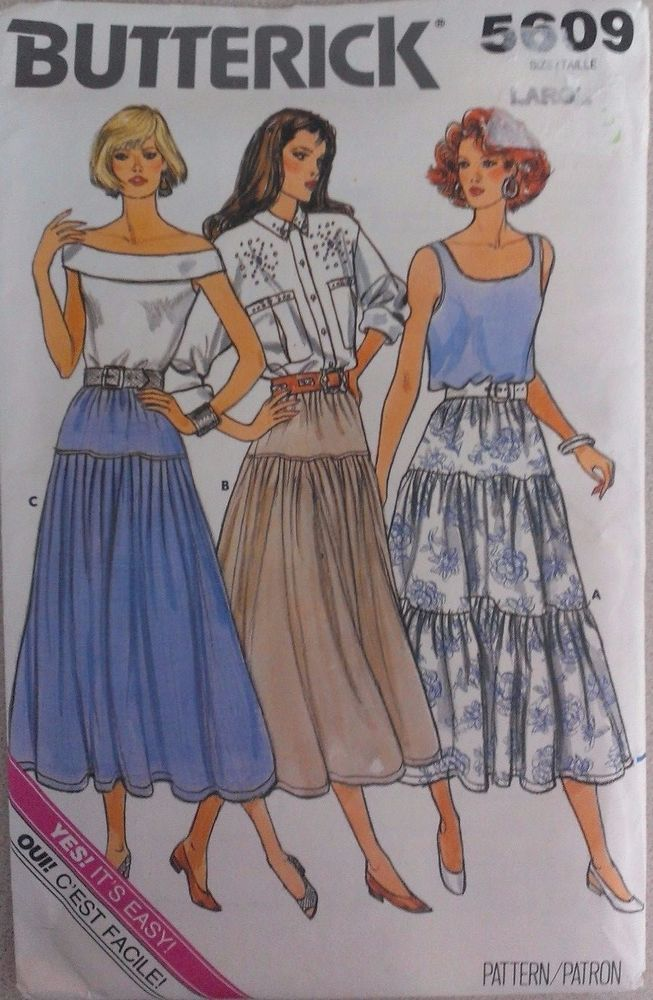 Butterick Sewing Pattern 5609 Flared Peasant Long Skirt Size Large ...