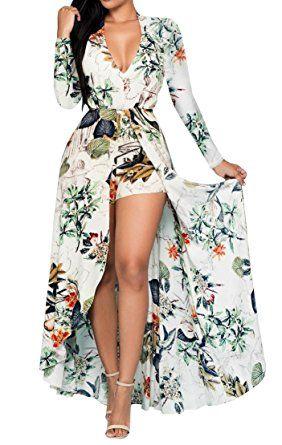 33e45b2f2a13 Image result for Lovaru Women s Floral Print Chiffon Flowing Boho Boyshorts  Romper Dress for Beach (