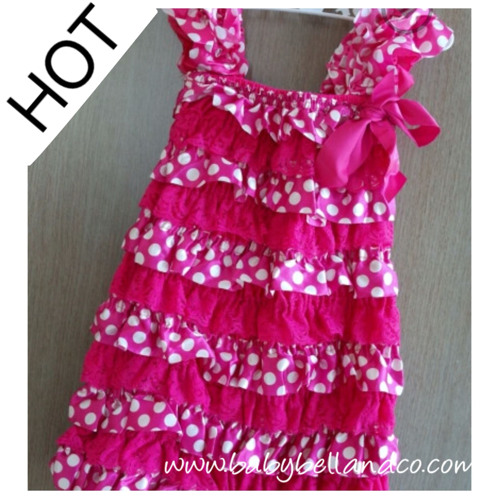 Hot Pink Dotty Dress at www.babybellandco.com