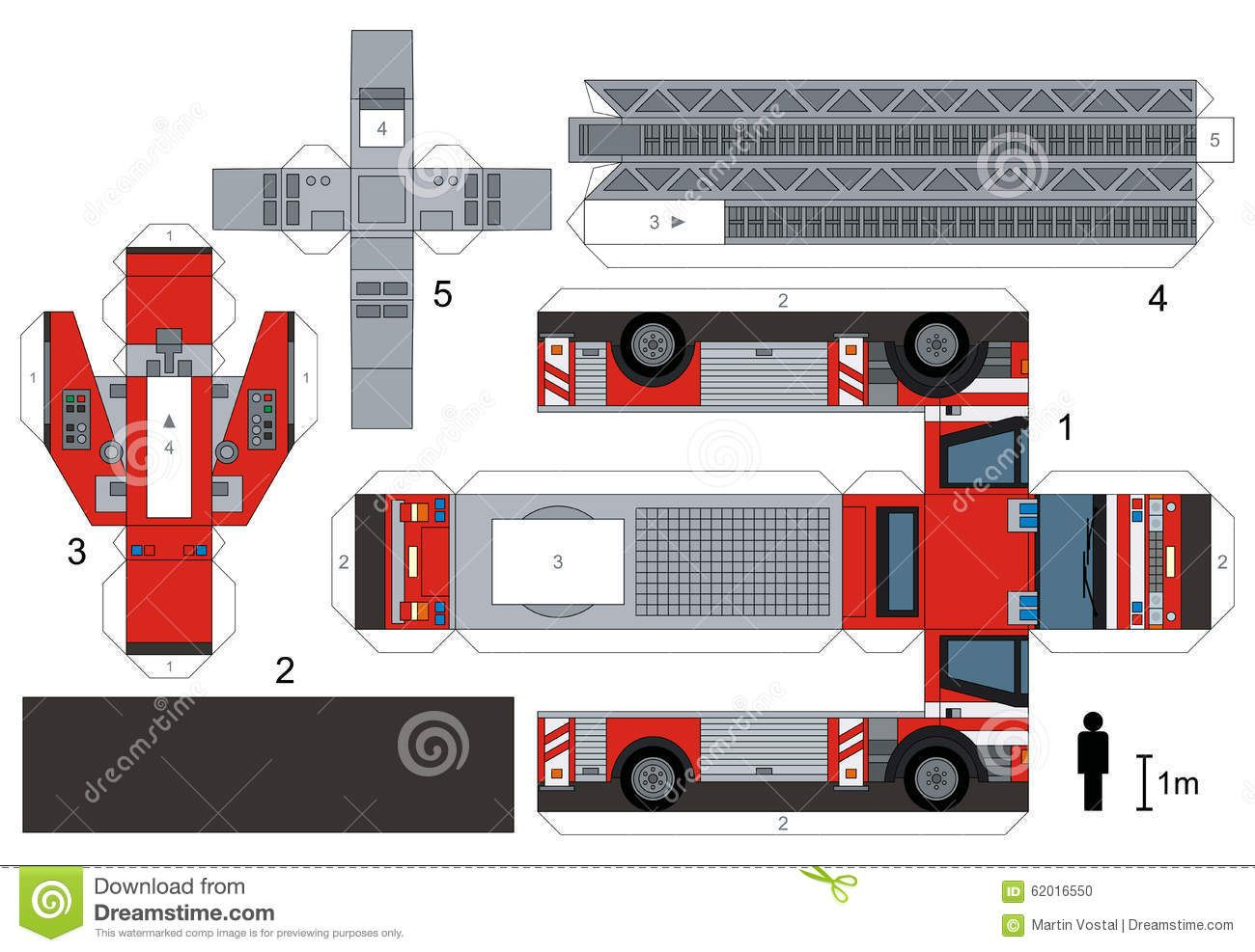 Paper Model Of A Fire Truck Download From Over 58