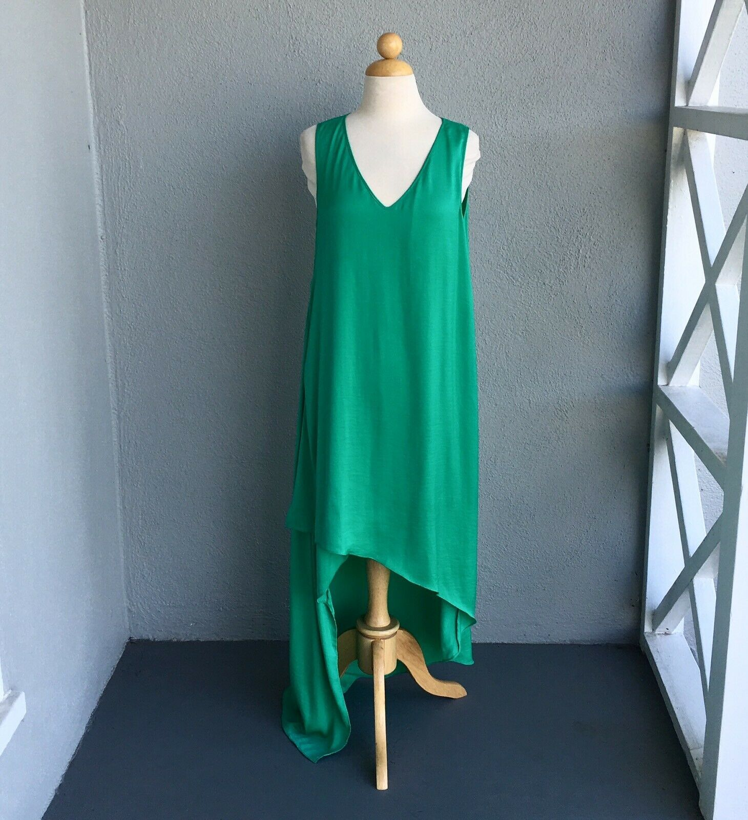 BCBG MAX AZRIA Cadence Blue Cotton Off-Shoulder Front Pockets Dress NEW $198
