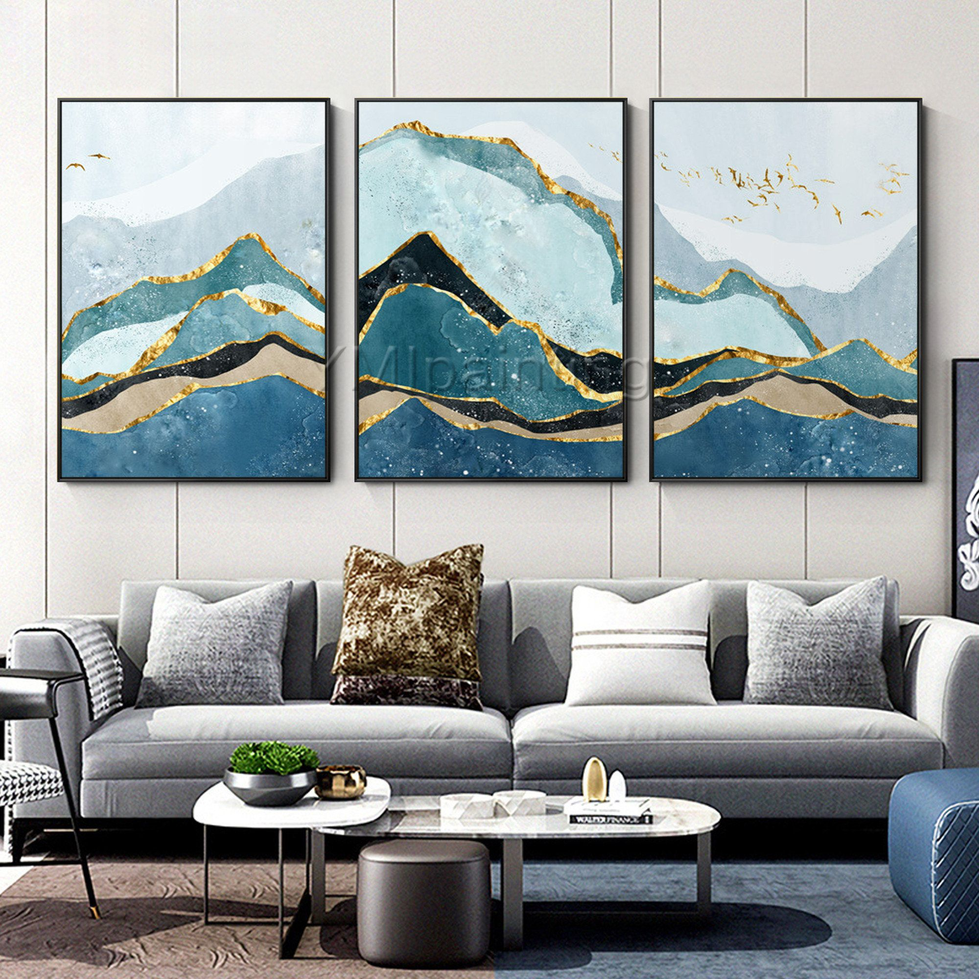 Mountain Painting Gold Art Set Of 3 Wall Art Framed Painting Etsy Mountain Paintings Wall Art Diy Paint 3 Piece Canvas Art