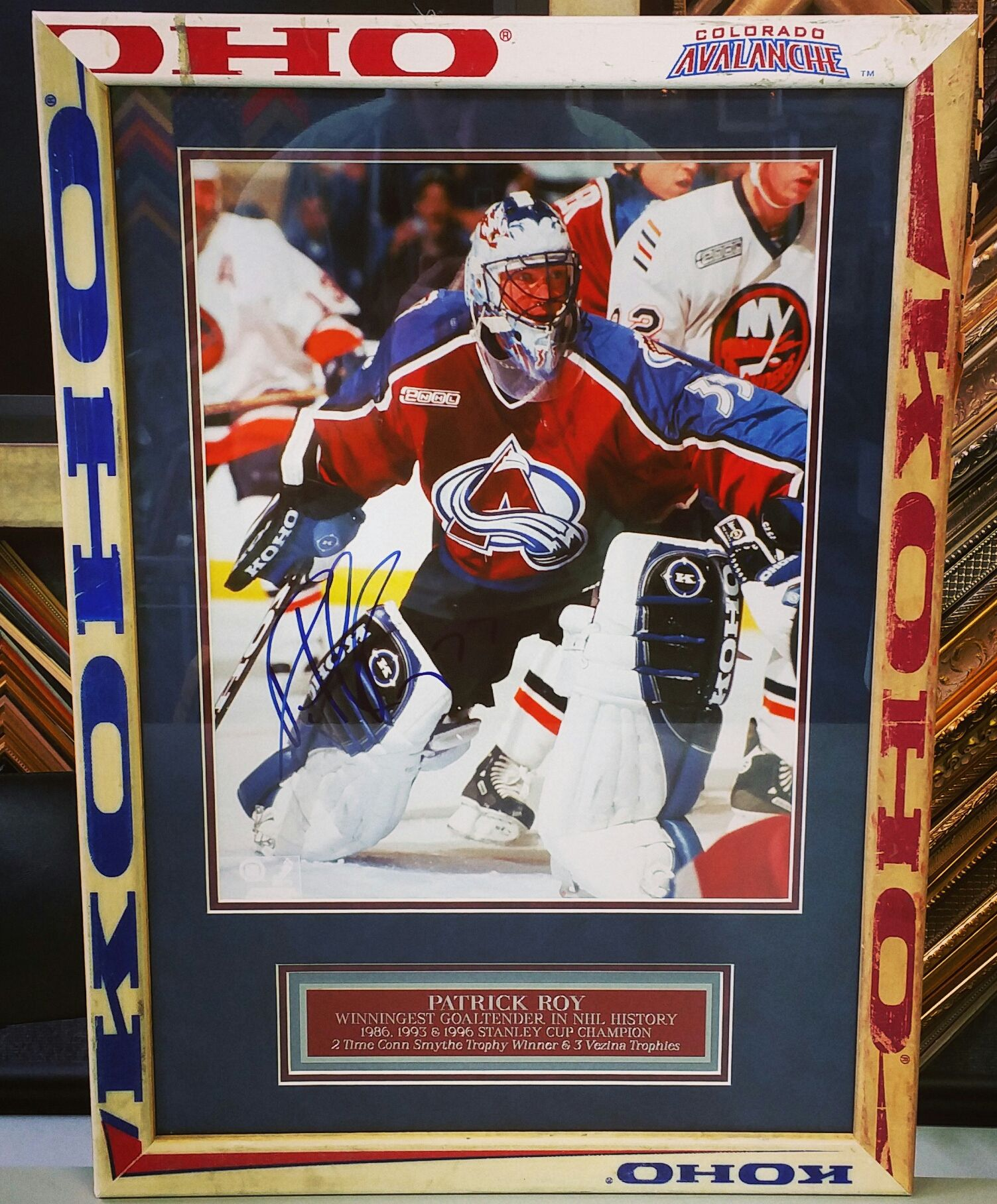 Custom Framed Patrick Roy Photograph In A Hockey Stick Frame For Sale Now At Fastframe Of Lodo Denver Colorad Framed Jersey Hockey Stick Colorado Avalanche
