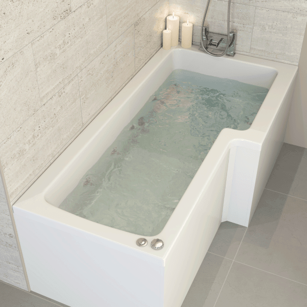 Ceramica 1700mm L Shower Bath Right Hand with 8 Jet Whirlpool   home ...