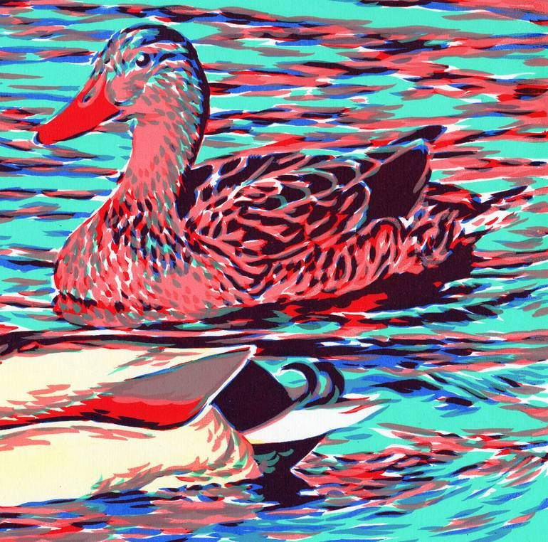 Original Animal Printmaking by Vitali Komarov | Impressionism Art on Paper | Mallard duck couple on a lake serigraphy, handmade screen print painted - Limited Edition of 20