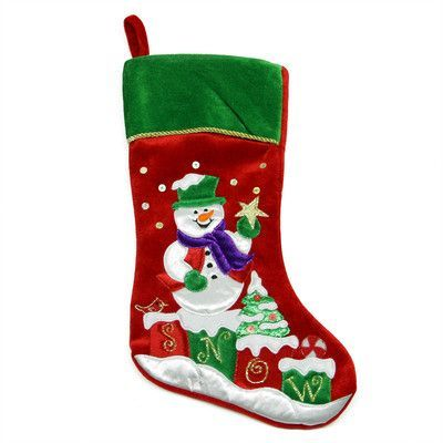 NorthlightSeasonal Embroidered Velveteen Snowman Christmas Stocking with Cuff