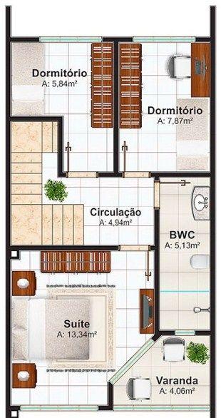 planos de casas pequenas de 6x15