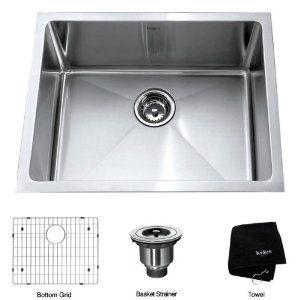 Kraus Khu101 23 23 Inch Undermount Single Bowl 16 Gauge Kitchen Sink Stainless Steel Amazon C Steel Kitchen Sink Sink Stainless Steel Kitchen Sink
