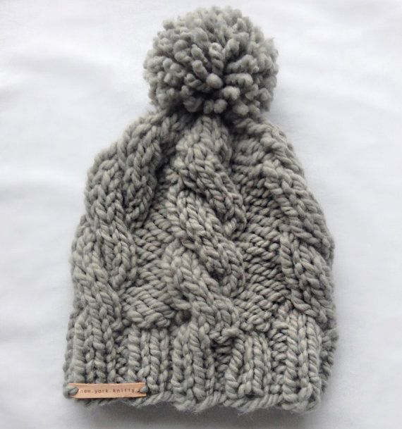 Grey Cable Hat by 1NewYorkKnitty on Etsy