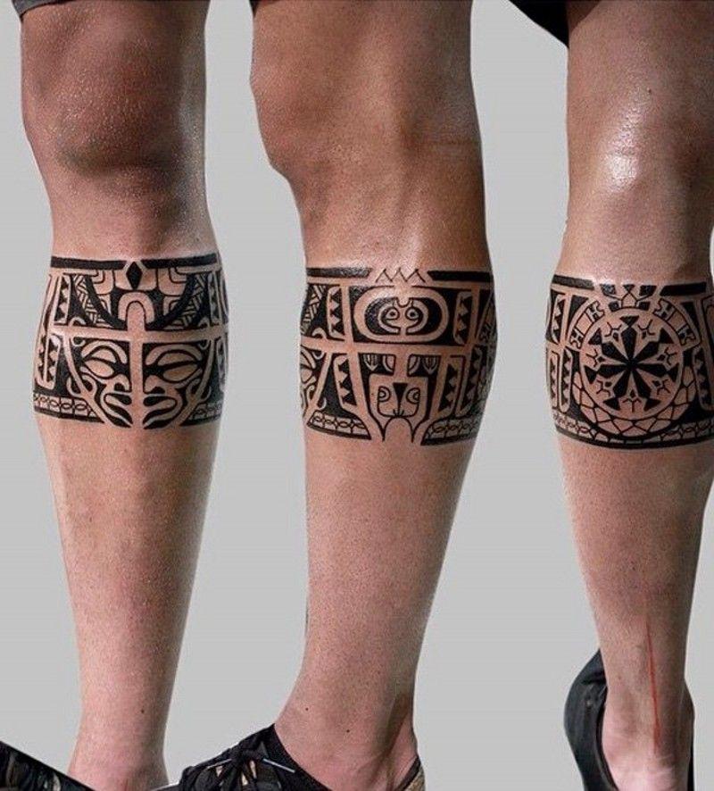 8f8e24aac Dark black ink Aztec tribal style leg band pattern tattoo - Tattooimages.biz