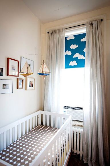 blackout shades for baby room. In This Small Space, Designer Jenny Komenda Maximized Baby Toby\u0027s Big Window With Floor-length Sheer Curtains And A Hand-painted Blackout Shade (the Clouds Shades For Room