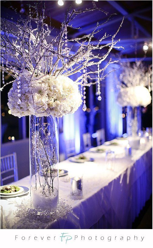 Winter wedding centrepiece weding pinterest winter weddings flower disagreement are they winter weddingy enough help me wedding winter wonderland head table decor picture on visualizeus junglespirit Images
