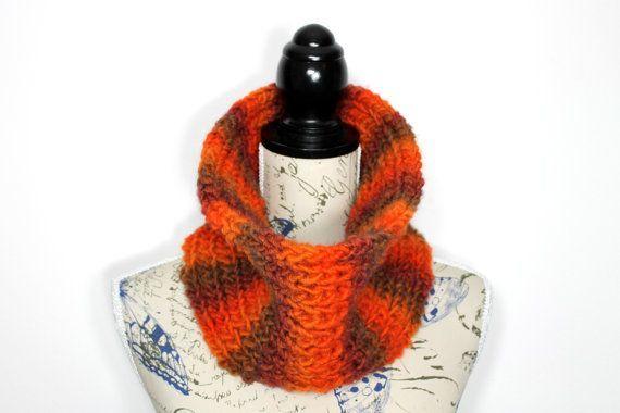 Photo of Warmer Infinity-Schal Dicker Strickschal Strickschals für Damen Snood femme laine Brauner und gebrannter orangefarbener Schal für Damen Einzigartiges Geschenk | Trend