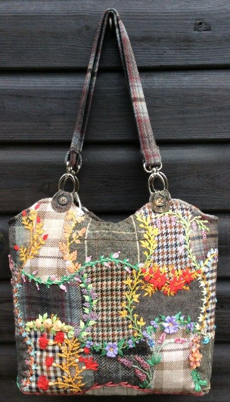 Updates to Upcycled Silk Ribbon Embroidered Wool Bag – Foolproof Crazy Patchwork Projects