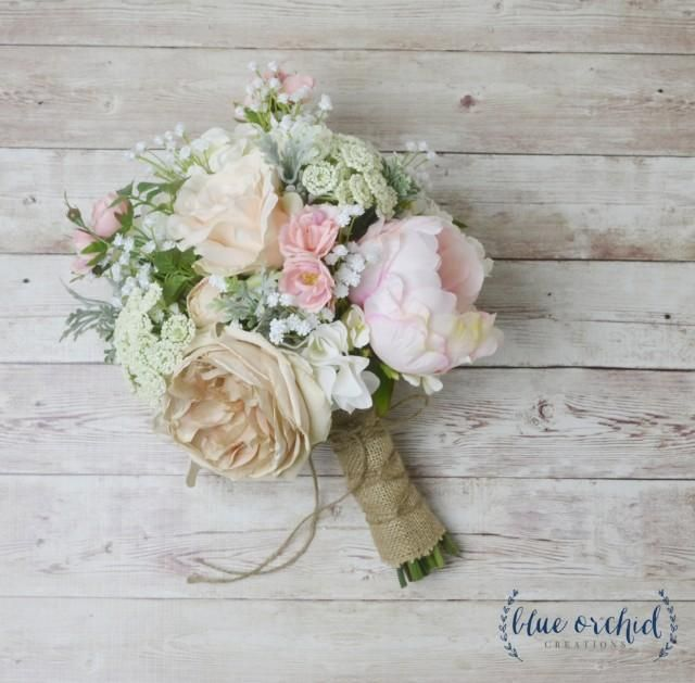 This boho bouquet has a mix of peonies and wildflowers. This silk ...