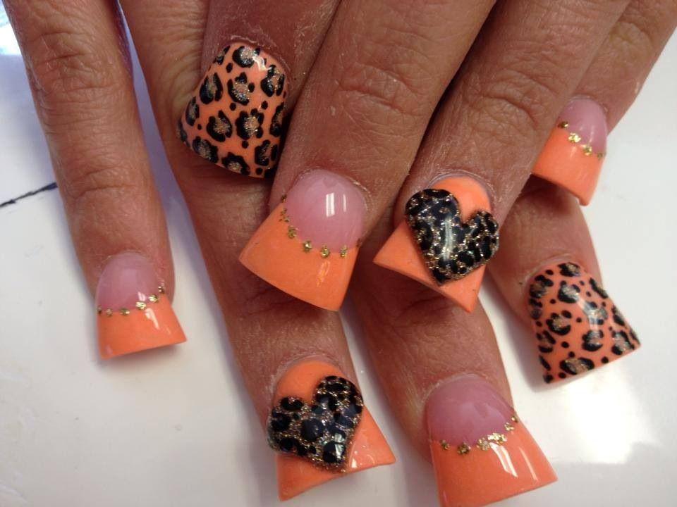 animal print nail art design | Duck feet nails | flare tip nails ...