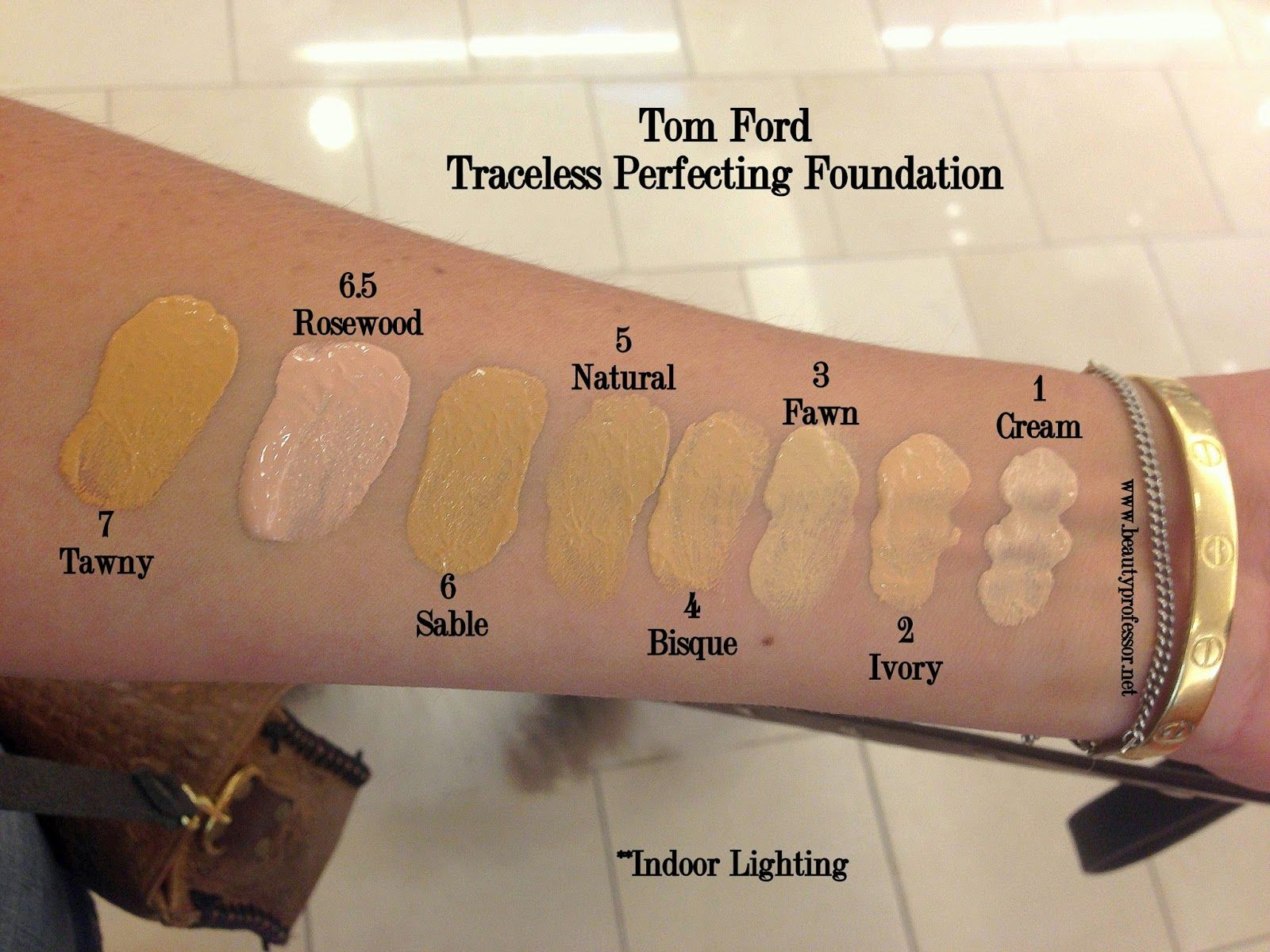 Tom Ford Traceless Perfecting Foundation Swatches Of All