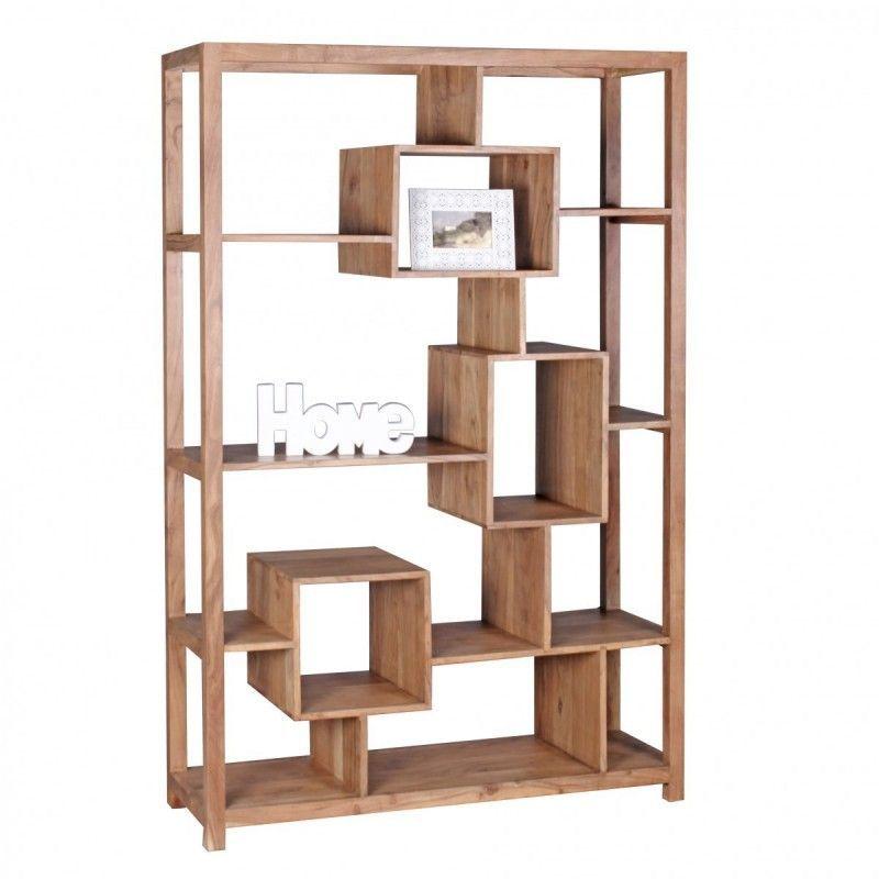 Wohnling Design Akazie Massivholz Bücherregal 115 x 40 x 180 cm - wohnzimmer regale design