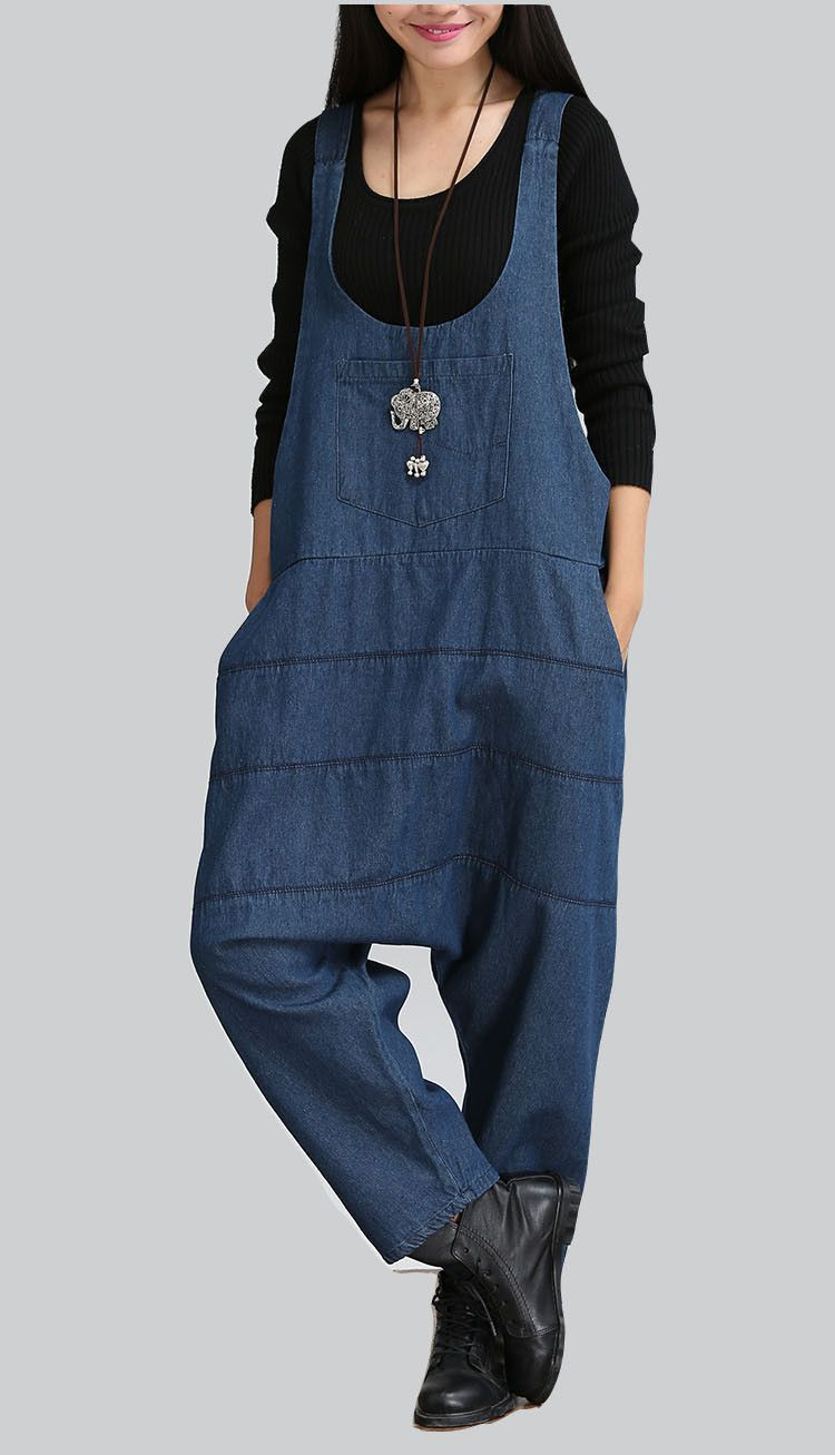 1ee6ceb3d0ef Women Spring New Denim Harem Jumpsuits Pants Girl Loose Plus Size Trousers  Pockets Overalls Jeans Fashion