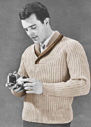 Mens Shawl Collar Raglan Pullover Sweater Vintage Knitting Pattern