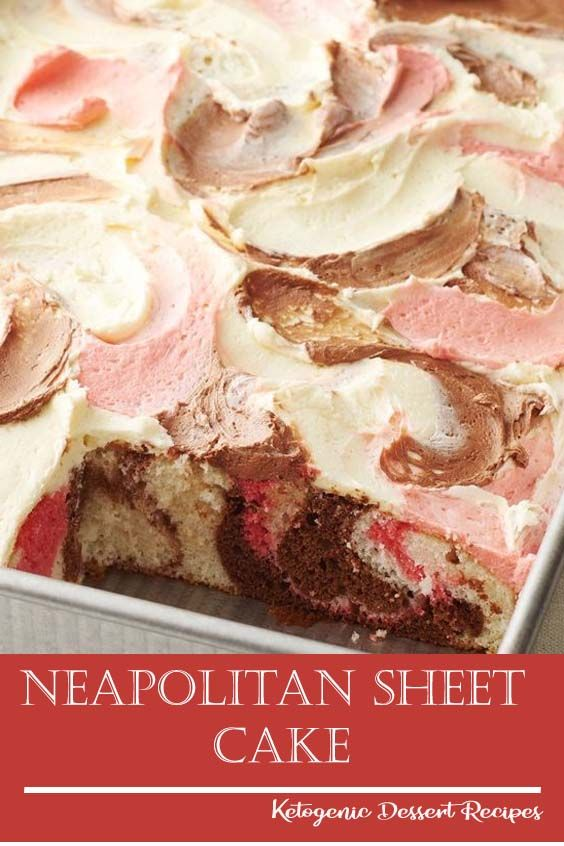 Marble   cake gets an upgrade with this sweet sheet cake swirled with Neapolitan   flavors  Frosting swirls of chocolate, vanilla and strawberry make this   pretty cake stunning from top to bottom! is part of Cake recipes -