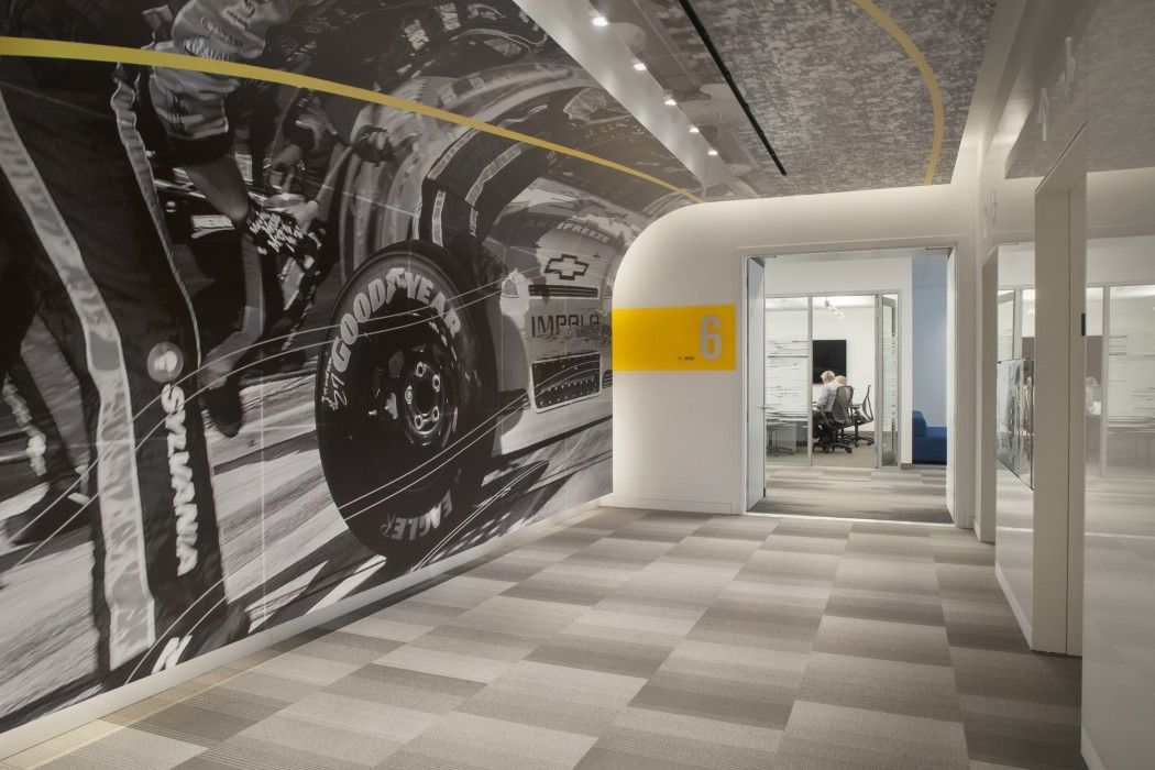 amazing office interiors. goodyear offices akron oh amazing wall graphics accented by branding colors vocon office interiors n