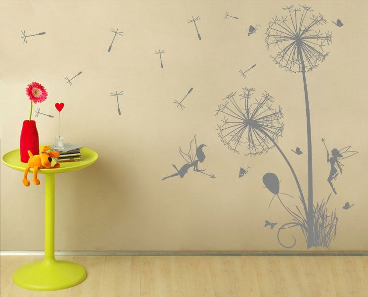 Dandelions Floral with fairies Vinyl Wall Art Decal wd199. $33.99 ...