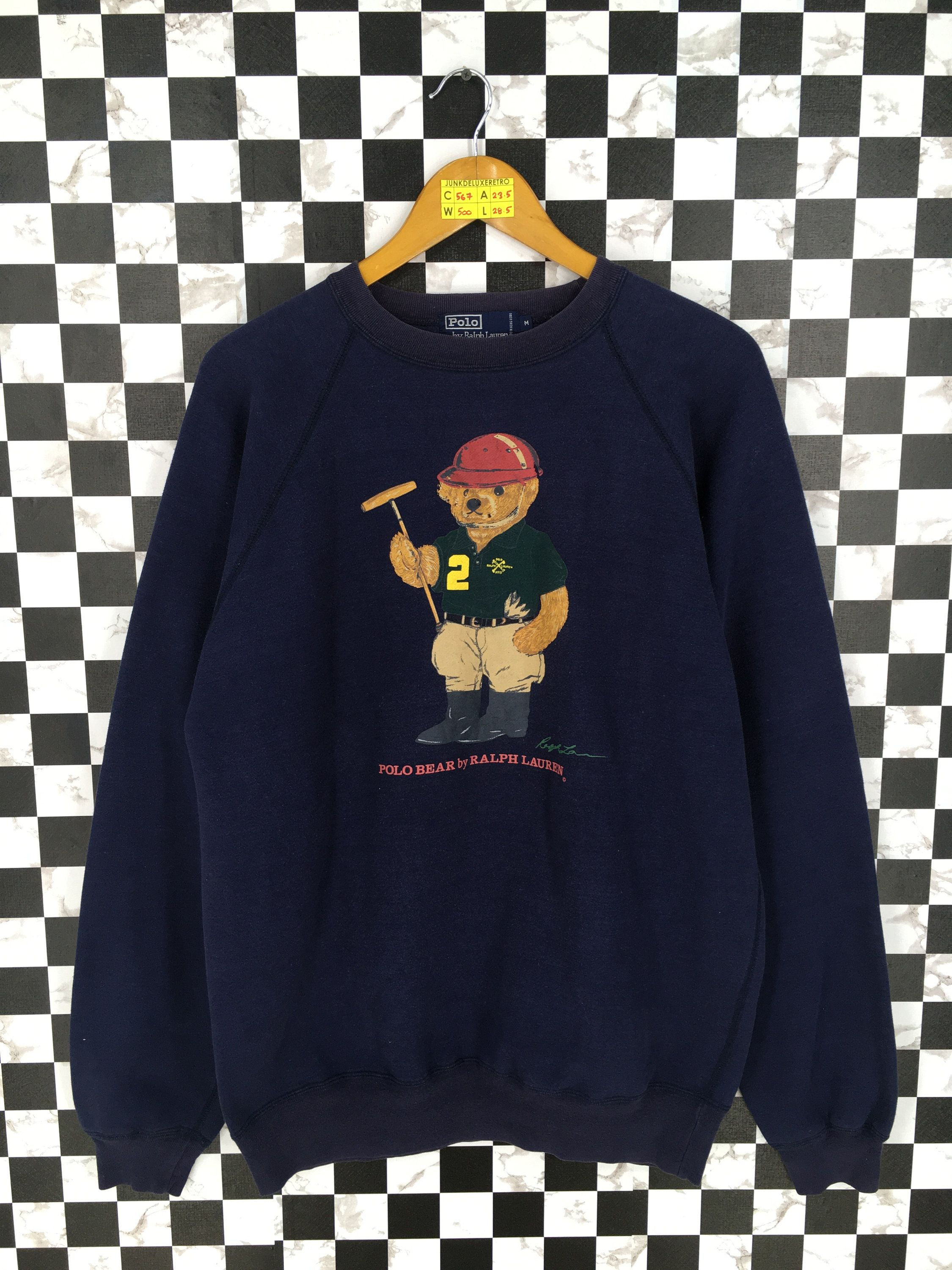 Ralph Sweatshirt Polo Bear Lauren Medium Vintage CtshQrd