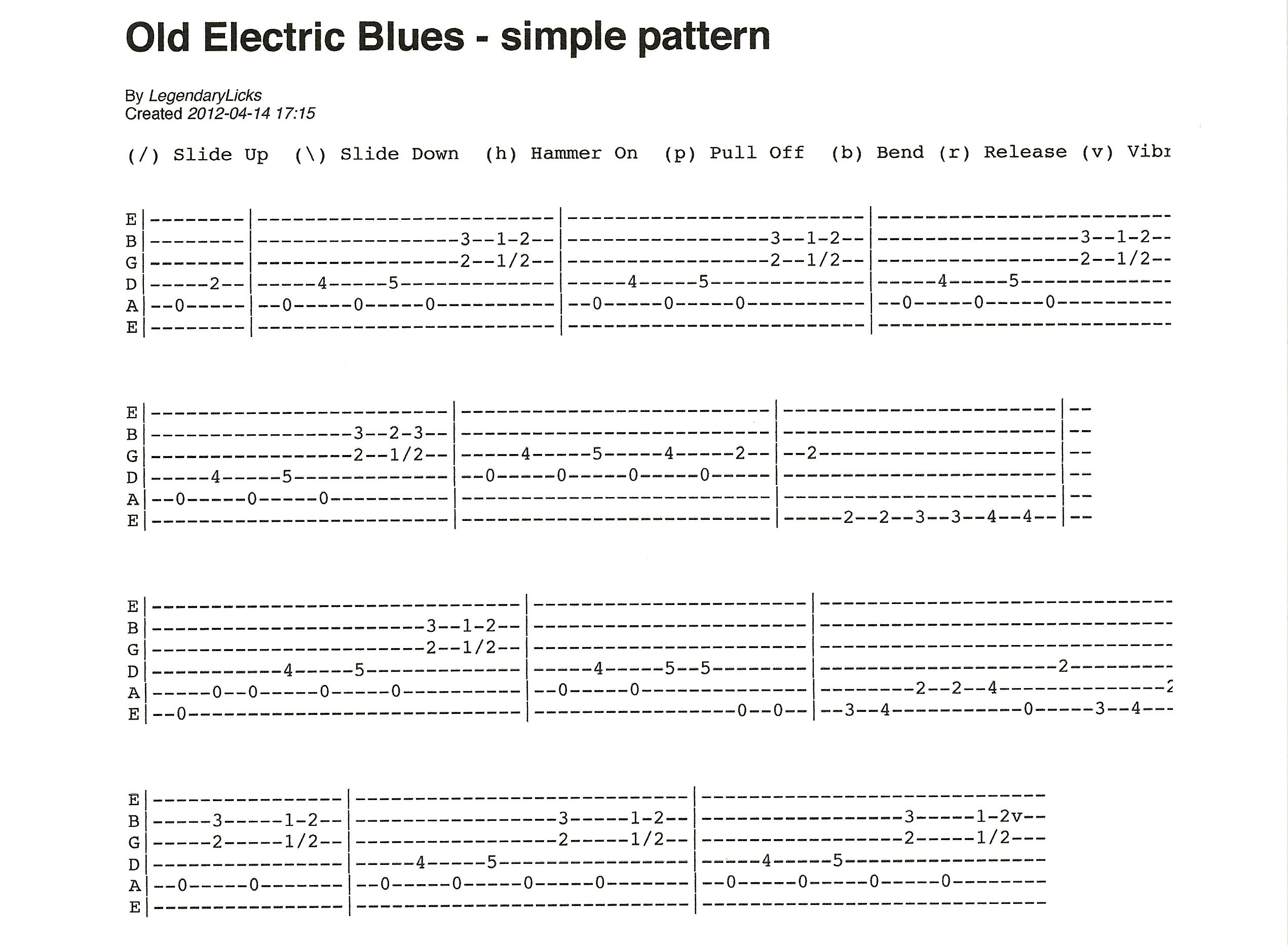old electric blues style guitar pattern easy to learn tab included in 2019 guitar sheet. Black Bedroom Furniture Sets. Home Design Ideas