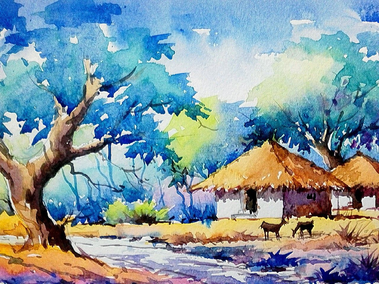 Pin By Thulasi Das On My Selections Watercolor Landscape