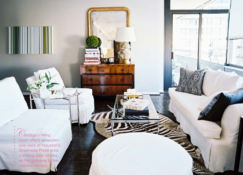 Living Room Zebra Rug chest & mirror, zebra rug, white slipcovers | for the home