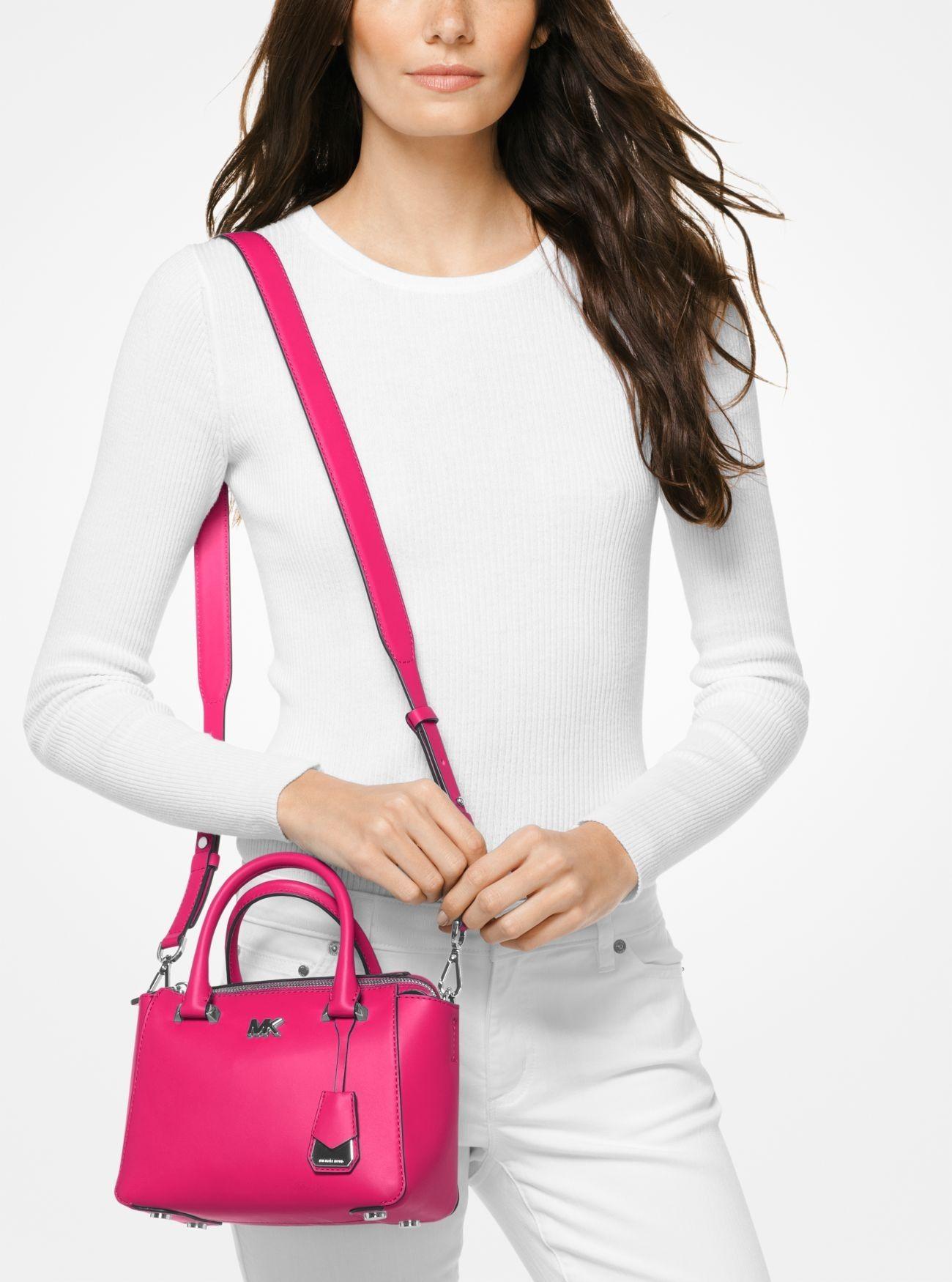 a8816686f53a Online Michael Kors Ultra Pink Nolita Mini Leather Satchel Outlet Sale