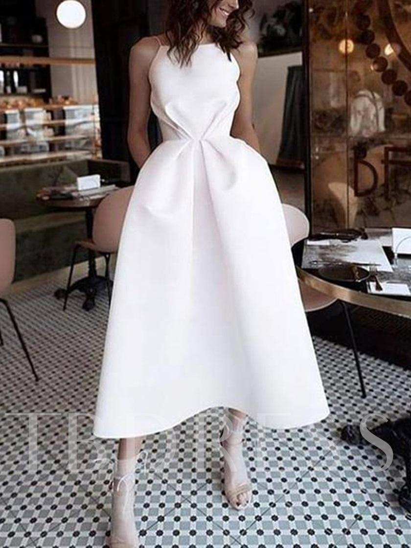 Spaghetti Straps Pockets TeaLength Wedding Dress 2020