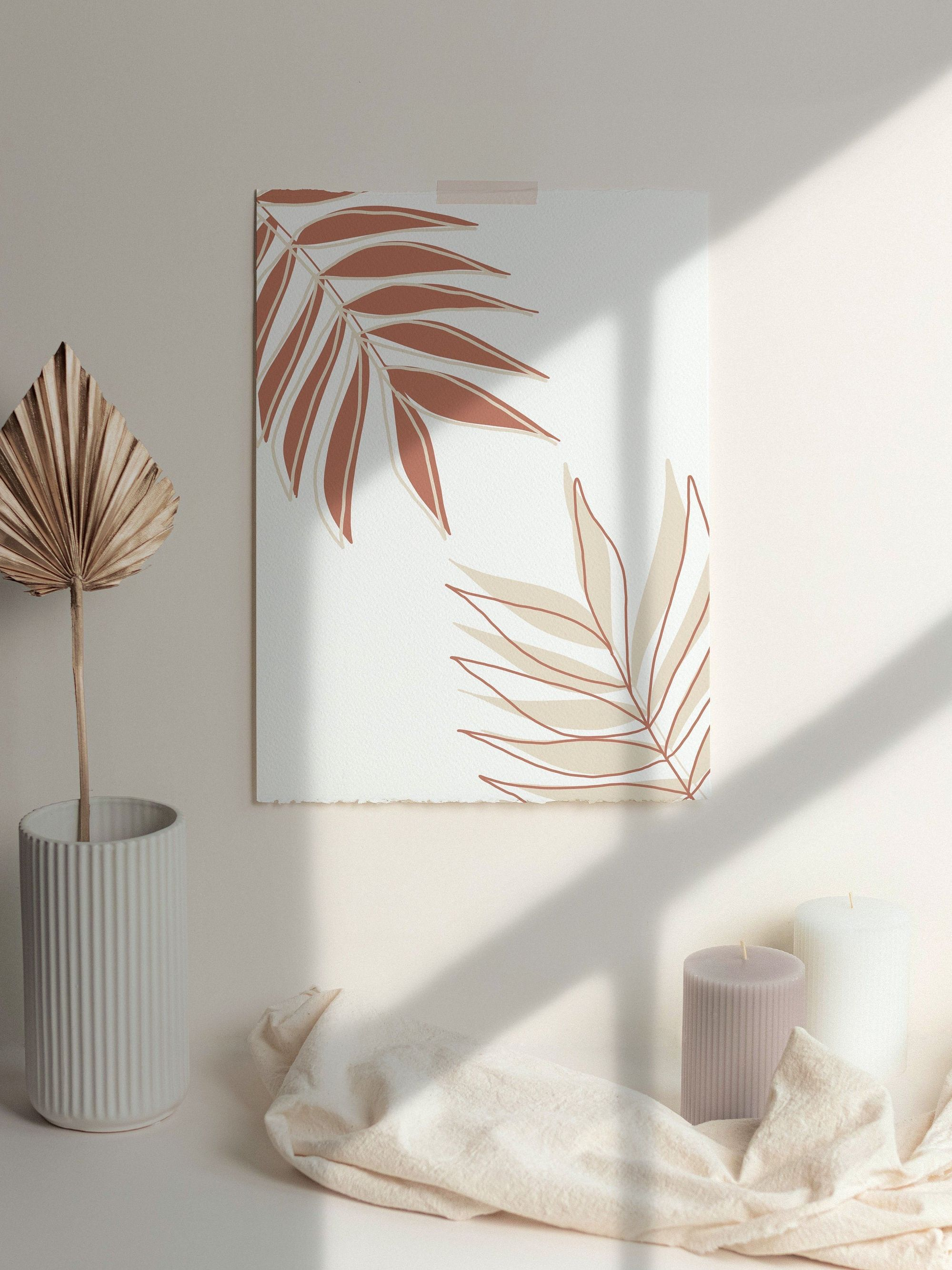 Read the full title Terracotta Palm Leaves, Wall Decor, Abstract Art Poster, Home Decor Wall Art, Printables, Digital Printable Wall Art, Instant Download