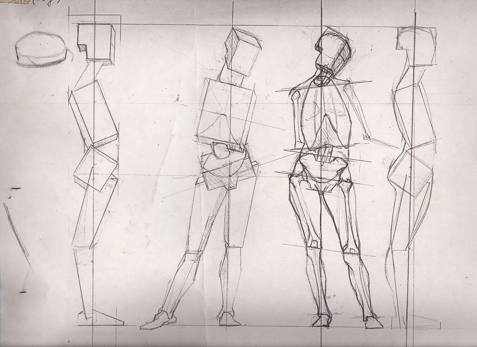 Dibujo del cuerpo humano composicion geometria simples | Drawing ...