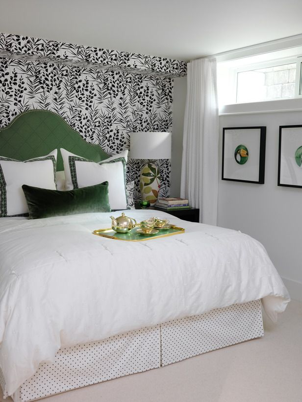 Headboard Ideas From Our Favorite Designers Basement Guest Rooms Bedroom Design Green Headboard
