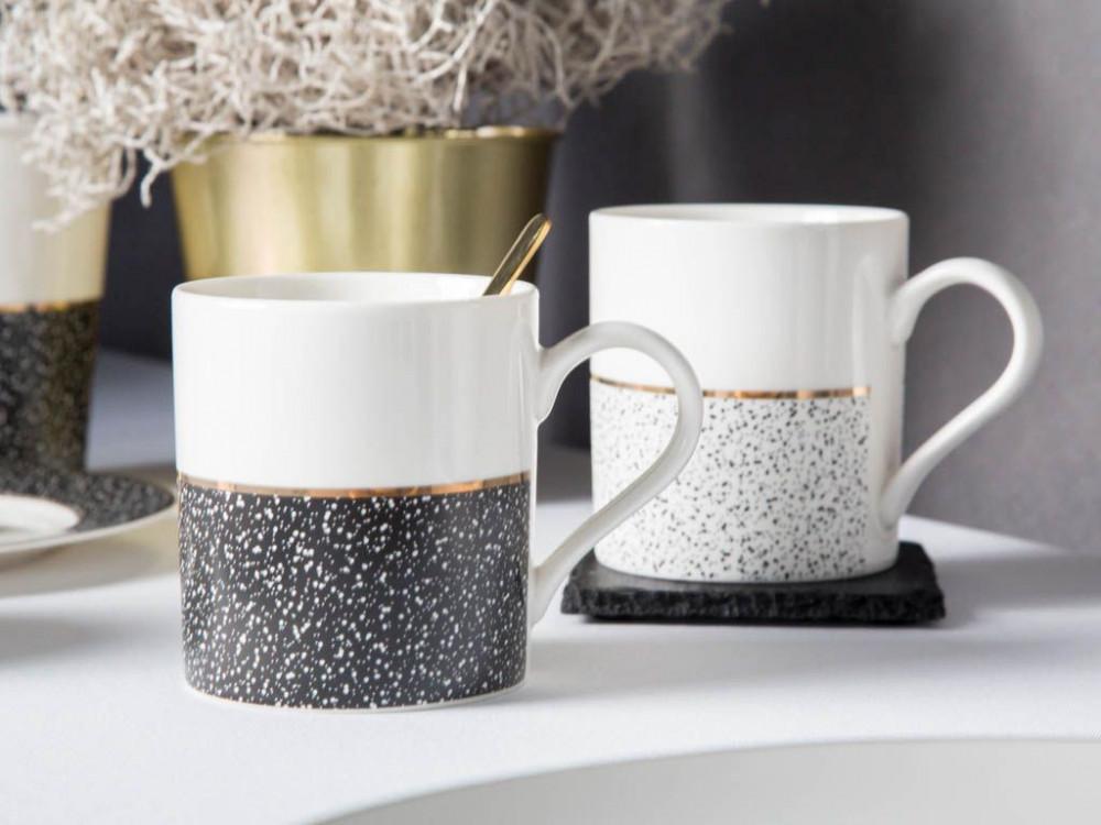 Zestaw Sniadaniowo Deserowy Dla 4 Osob Porcelana Altom Design Granit Bialo Czarny 12 Elementow Glassware Design Mugs