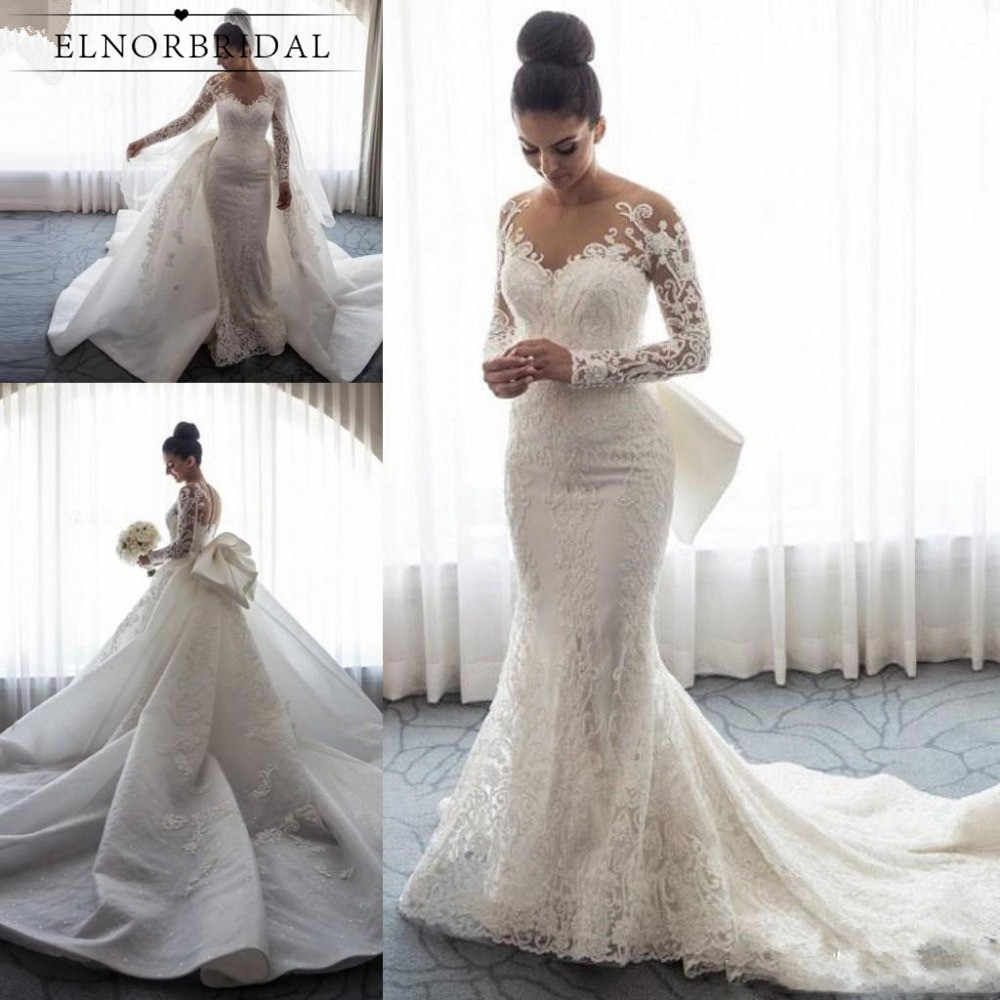 Vintage Mermaid Lace Wedding Dresses 2020 Detachable Train Vestidos De In 2020 Inexpensive Wedding Dresses Long Sleeve Mermaid Wedding Dress Wedding Dress Long Sleeve
