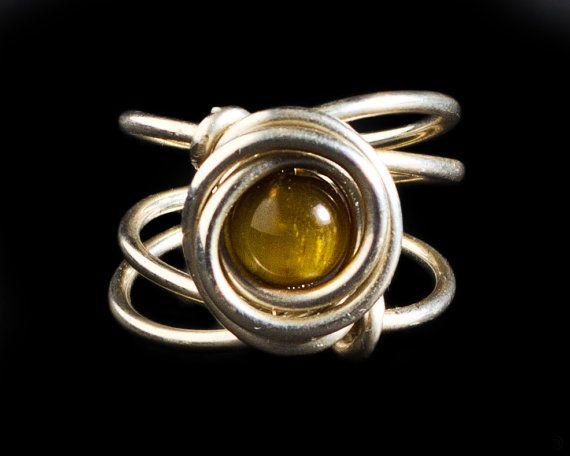 Blonde tigers eye wire wrapped ring made with by RadFabrications, $20.00