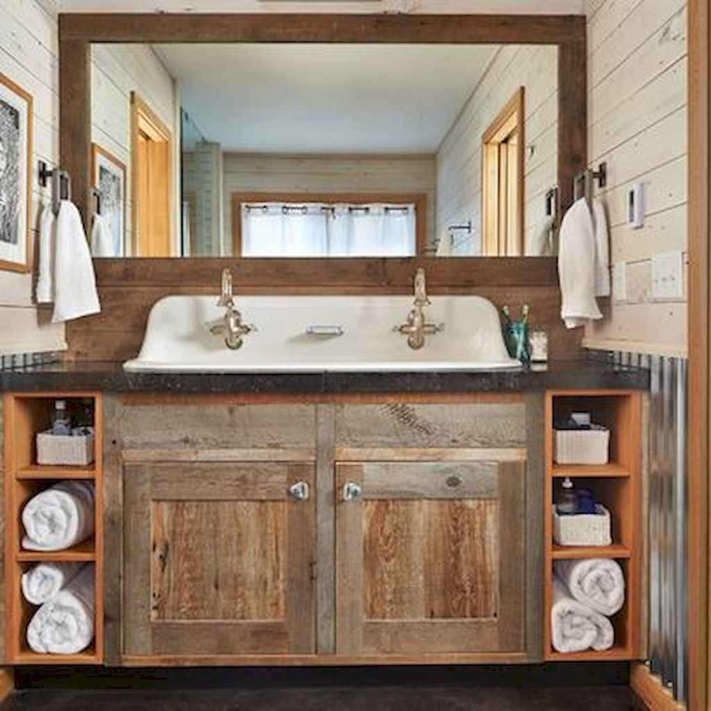 110 Supreme Farmhouse Bathroom Decor Ideas 35 bathroom #110 #supreme #farmhouse #bathroom #decor #ideas #35