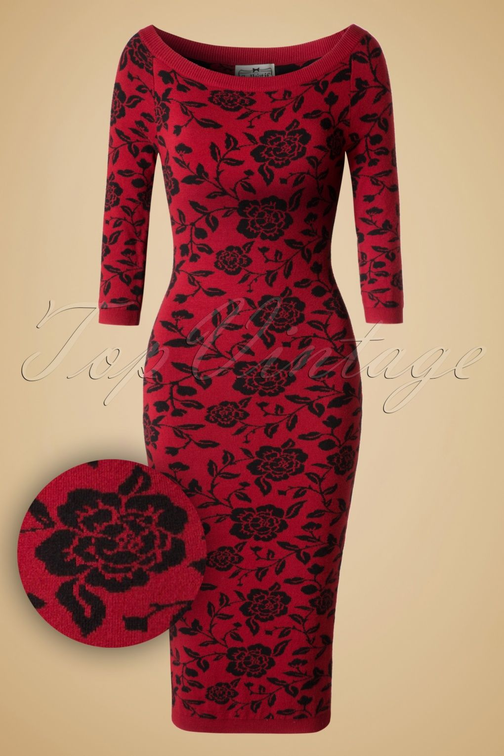 This 50s Ivana Roses Pencil Dress is going to be your favourite during the  colder days!If the elegant ''Rose Brocade'' …   Dark red dresses, Red rose  dress, Dresses