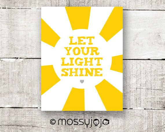 Let your light shine 8x10 print Yellow wall art Inspirational quote ...