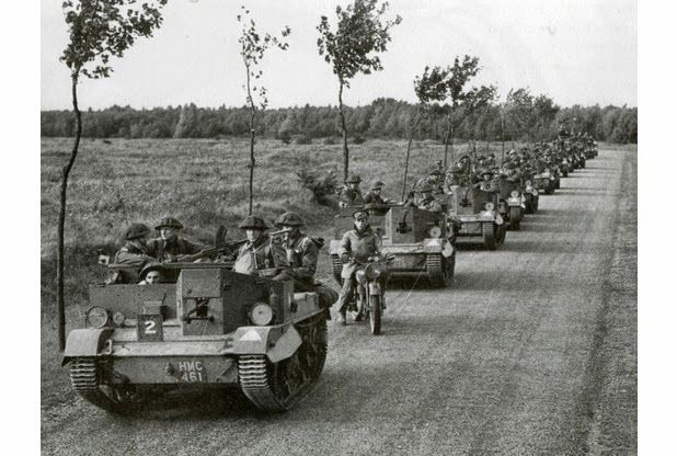Universal Carriers Mk 1 belonging to the British Expedition Force in France, 1940. Note that the main armament appears to be Boyes' AT rifles with a Bren gun as additional anti-air defence on some vehicles.