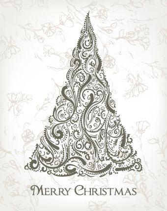 2014 abstract christmas tree design vector 04 boże narodzenie tło