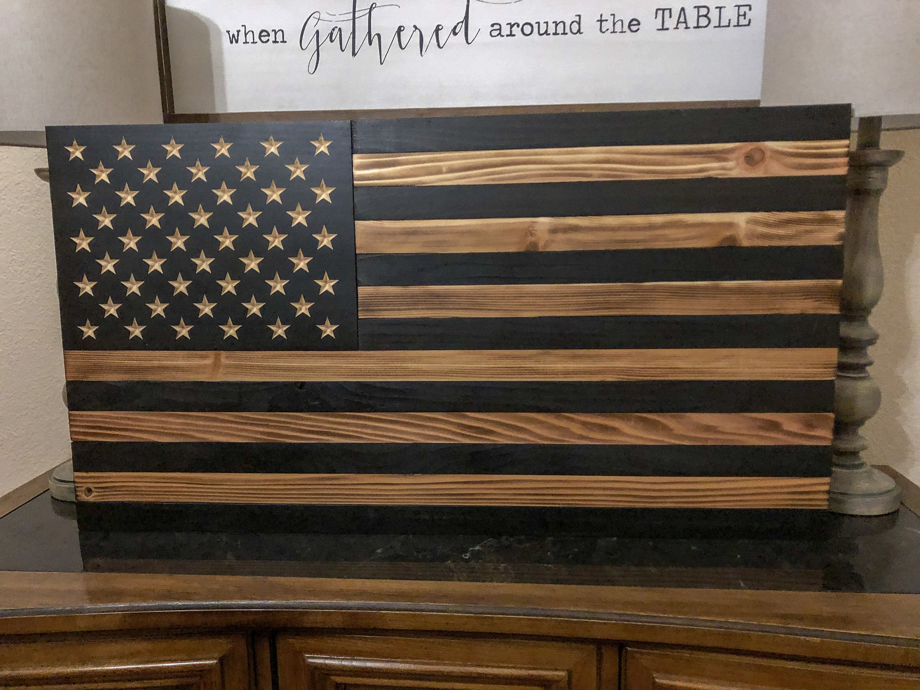 Charcoal American Flag Rustic American Flag Stained American