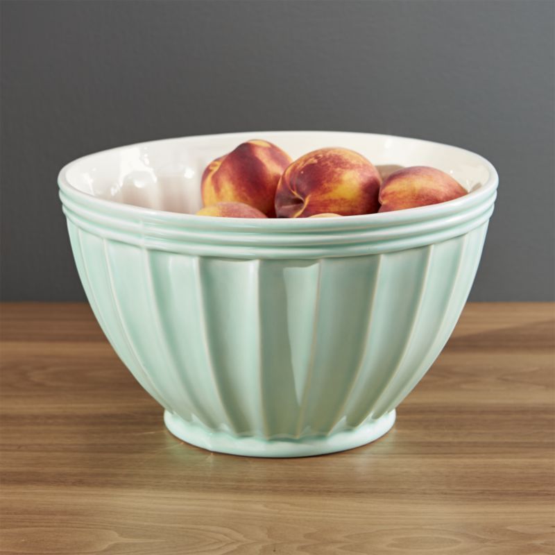 Shop Kitchenette Pistachio Large Mixing Bowl Fluted Edges And Soft Pistachio Green Give This Generously Sized Earthenware Bowl Crate And Barrel Plastic Crates
