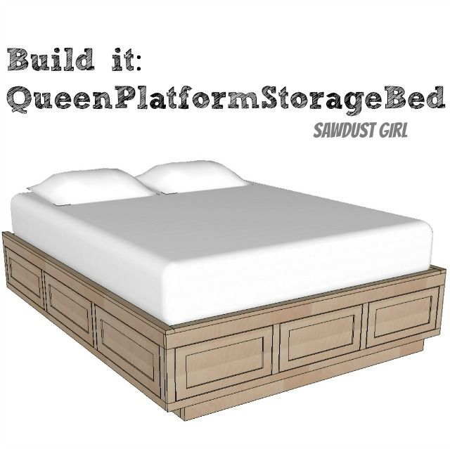 Queen Size Platform Bed Frame With Storage Drawers Bedroom Decor