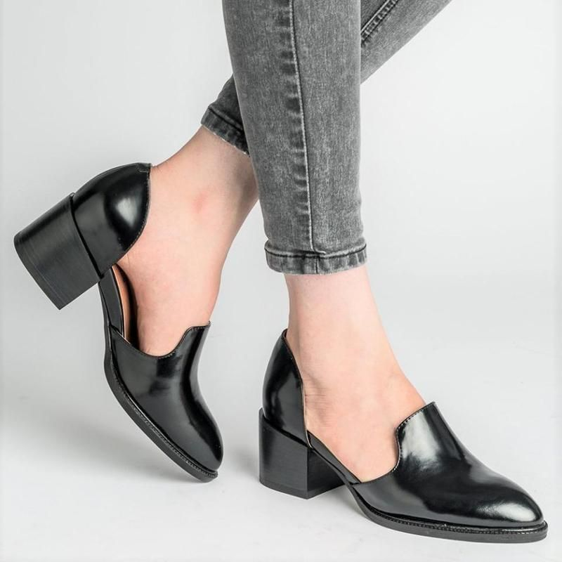 Women Spring Chunky Heel Casual Loafers